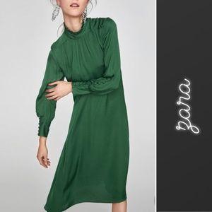 ZARA Green High Neck Midi Dress Size XS